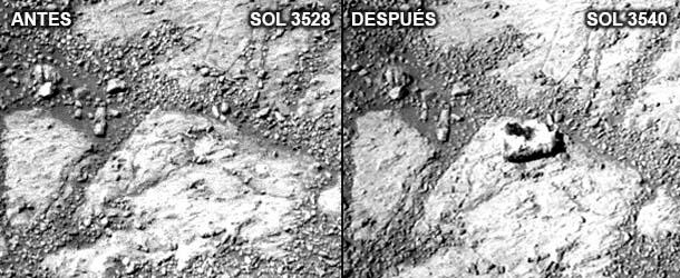 Misteriosa roca Marte - Aparece una misteriosa roca cerca del rover Opportunity en Marte