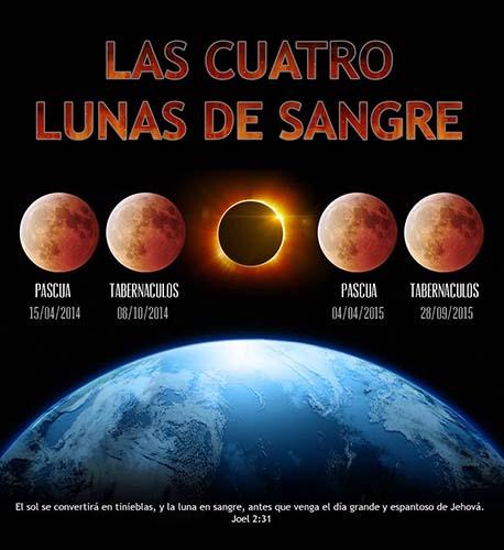 """cuatro lunas de sangre - """"Cuatro lunas de sangre"""" tendrán lugar entre el 2014 y 2015, ¿señales del fin de los tiempos?"""