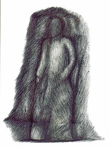 Mujer vestida de blanco en la carretera