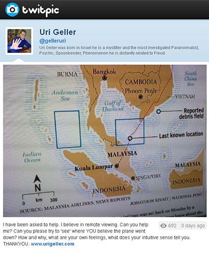 uri geller avion malaysia airlines Solicitan la ayuda de Uri Geller para que busque el avión de Malaysia Airlines mediante la visión remota