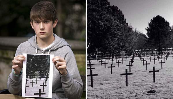 estudiante fantasma soldado escoces - Estudiante fotografía el fantasma de un soldado escocés en un cementerio militar de Francia