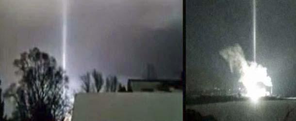 misterioso rayo luz michigan - Misterioso rayo de luz aparece durante la explosión de una central eléctrica en Míchigan