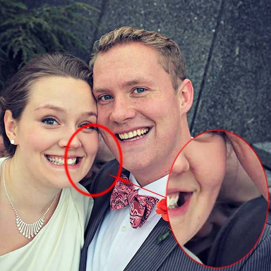 """misterioso rostro fantasmal boda - Misterioso """"rostro fantasmal"""" aparece en la foto de boda de una joven pareja"""