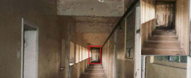 Antigua imagen muestra una figura fantasmal en un sanatorio abandonado de Inglaterra