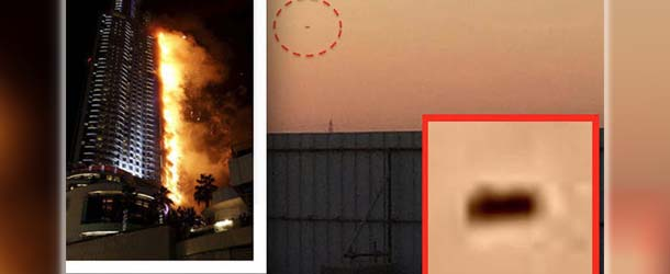 ovni incendio rascacielos dubai - Ex empleado de la Fuerza Aérea fotografía un OVNI horas antes del gran incendio en un rascacielos de Dubái