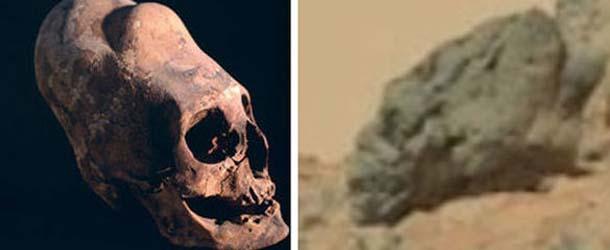 craneo alargado extraterrestre en marte - Descubren un cráneo alargado extraterrestre en Marte