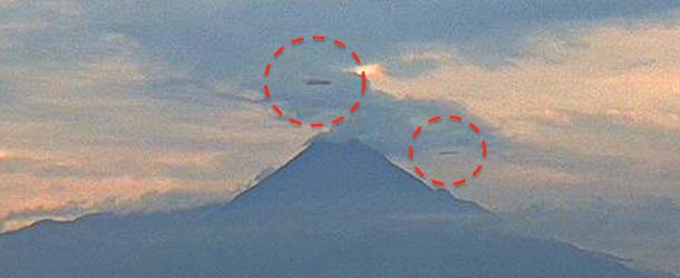 enormes ovnis volcan de colima - Dos enormes ovnis de 500 metros sobrevuelan el volcán de Colima