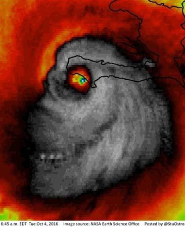 huracan matthew rostro demoniaco - Imagen de satélite del huracán Matthew muestra un rostro demoníaco