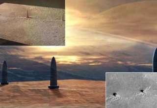 tres torres marte 320x220 - Descubren tres colosales torres en Marte