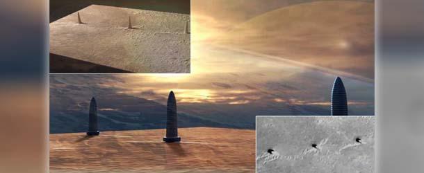 tres torres marte - Descubren tres colosales torres en Marte