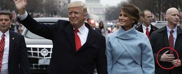 Vídeo muestra un guardaespaldas reptiliano protegiendo a Donald Trump durante el desfile inaugural