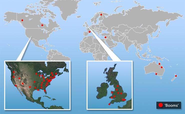 origen misteriosas explosiones - ¿Cuál es el origen de las misteriosas explosiones que se han escuchado en 64 lugares del mundo este año?