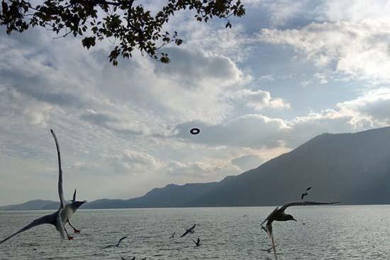 ovni lago china - Turista fotografía un OVNI en forma de rosquilla flotando sobre un lago de China