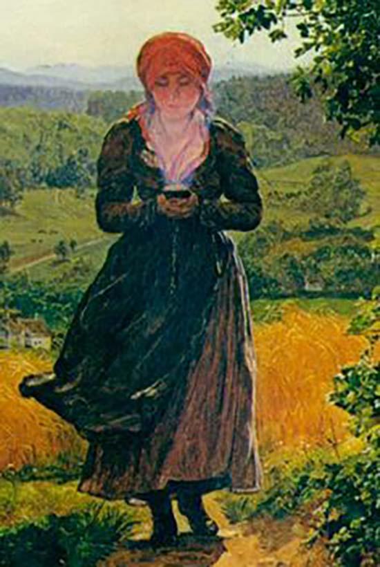 pintura 1850 viajes tiempo - Una pintura de 1860 muestra a una mujer con un smartphone en sus manos, ¿nueva evidencia de viajes en el tiempo?
