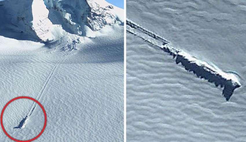 ovni estrellado antartida 850x491 - Imágenes de Google Earth revelan un OVNI estrellado en la Antártida