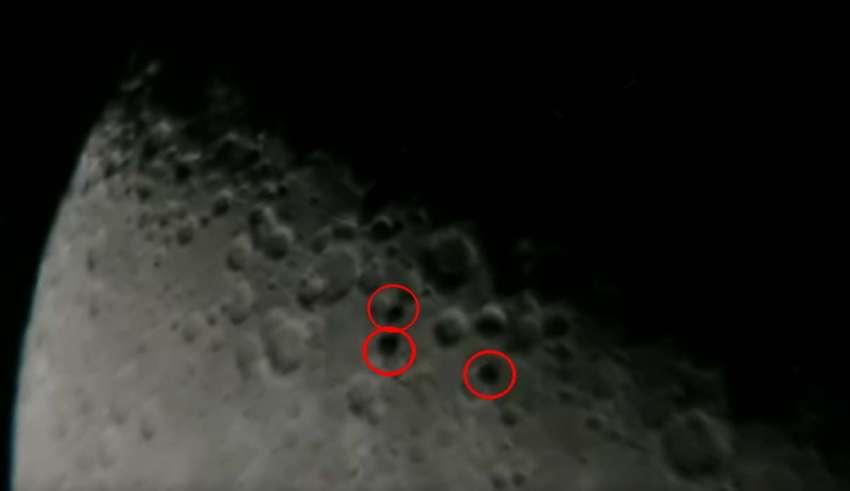 ovnis luna 850x491 - Astrónomo capta tres OVNIS en forma de disco volando en formación frente a la Luna