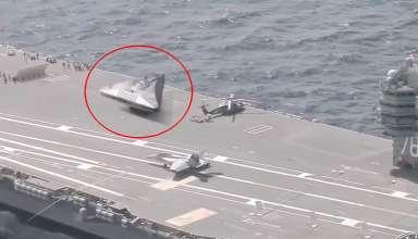 ovni portaaviones 384x220 - Varios medios publican un vídeo que muestra un OVNI triangular en la cubierta de un portaaviones estadounidense