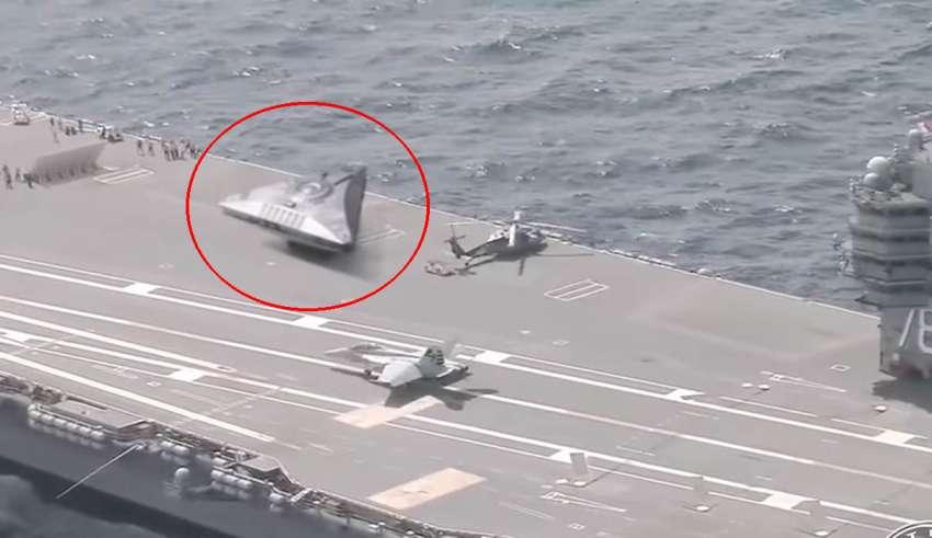 ovni portaaviones 850x491 - Varios medios publican un vídeo que muestra un OVNI triangular en la cubierta de un portaaviones estadounidense