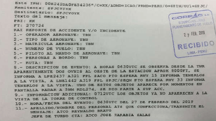 ovnis aeropuerto internacional - Las autoridades peruanas confirman la presencia de dos ovnis en el Aeropuerto Internacional Jorge Chávez