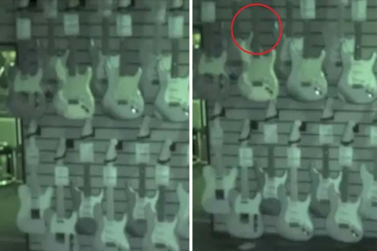 fantasma tienda de guitarras - Cámaras de seguridad graban un fantasma en una tienda de guitarras