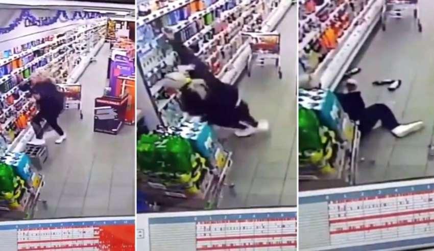 dependienta fantasma 850x491 - Este es el momento en que la dependienta de un supermercado en Escocia es atacada por un fantasma