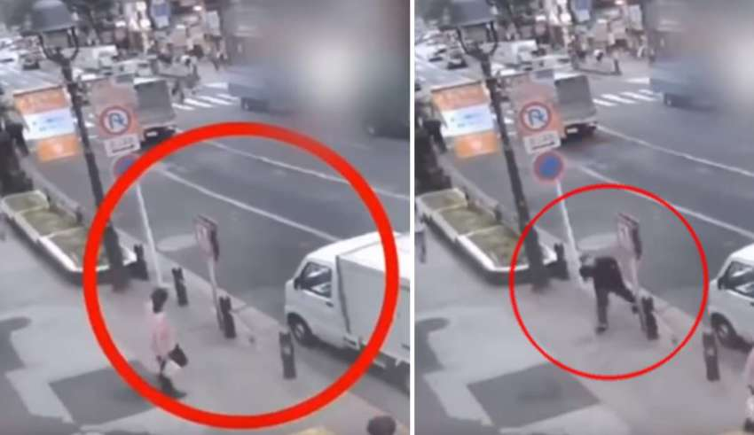 hombre teletransportandose calle 850x491 - Cámara de seguridad muestra un hombre teletransportándose en una calle delante de decenas de testigos