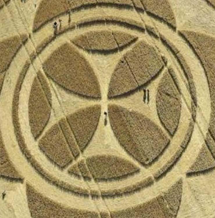 circulo cultivos senal templaria francia - Aparece un gigantesco círculo de los cultivos con una señal templaria en un campo de Francia