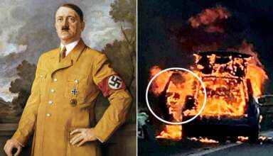 rostro demoniaco adolf hitler 384x220 - La policía británica fotografía un rostro demoníaco en un coche en llamas y es similar a Adolf Hitler