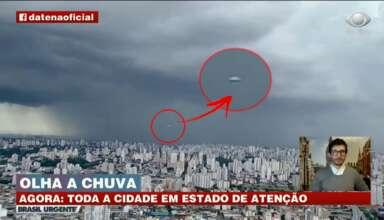 ovni noticias directo brasil 384x220 - OVNI en forma de cigarro aparece durante las noticias en directo de Brasil