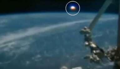 gigantesco ovni tierra 384x220 - La Estación Espacial Internacional capta un gigantesco OVNI del tamaño de un planeta sobre la Tierra