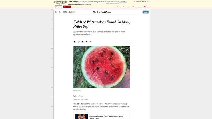 sandias marte - El New York Times anuncia el descubrimiento de sandías en Marte