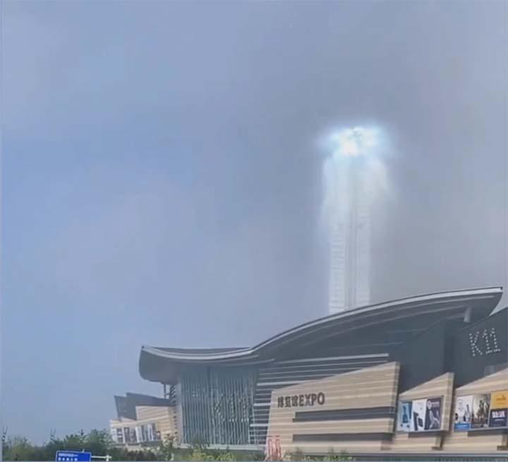 misterioso rayo luz china - Aparece un misterioso rayo de luz gigante en el cielo de una ciudad china